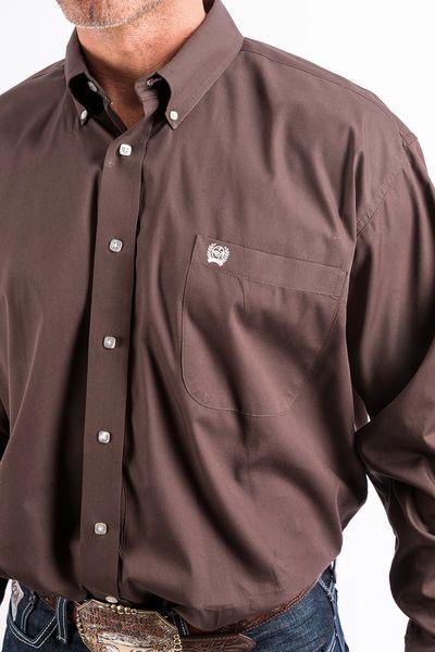 Men's Cinch brown long sleeve button down