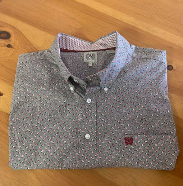 Men's Cinch grey & red pattern L/S button down
