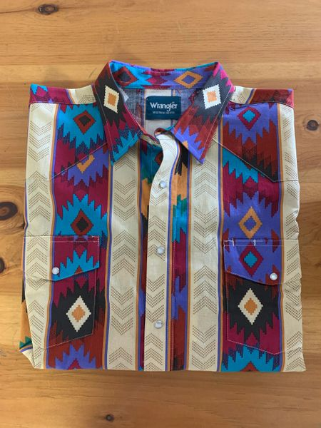 Men's Wrangler long sleeve pearl snap print shirt