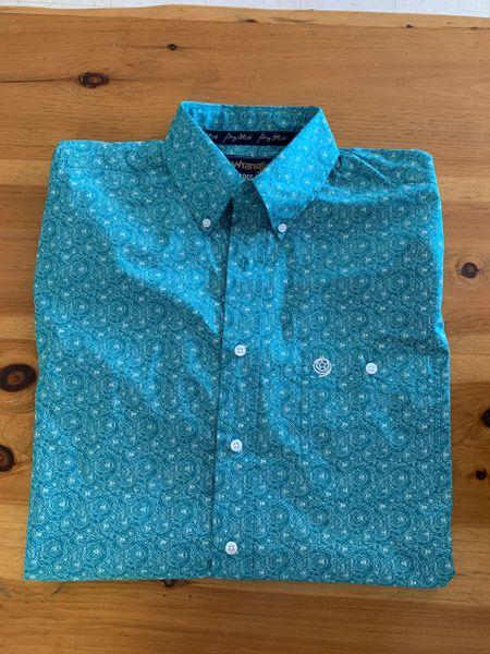 Men's Wrangler long sleeve button down teal print shirt