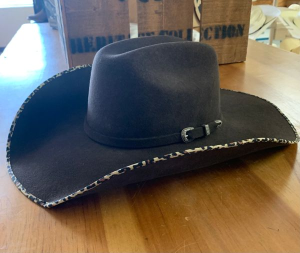 Atwood Women's chocolate felt cowboy hat with leopard edged brim