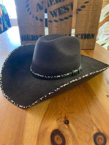 Atwood Women's black felt cowboy hat with zebra edge & zebra hat band