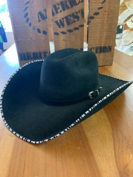 Atwood Women's black felt cowboy hat with zebra edged brim