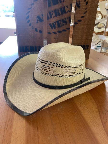 Double S Straw Cowboy Hat with camo edged brim & hatband
