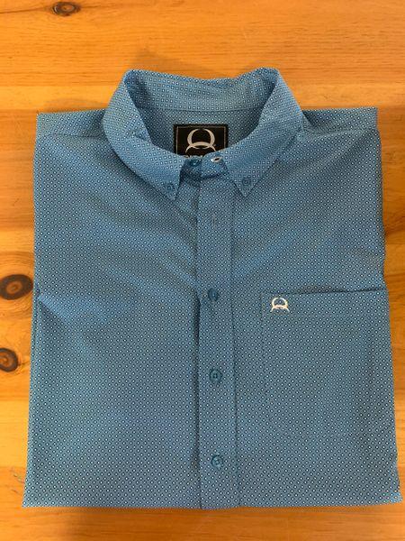 Men's Blue S/S Print Cinch Shirt
