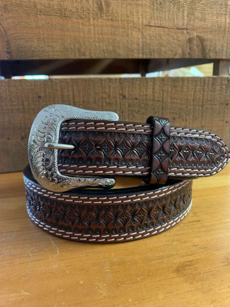 Men's brown leather belt with white stitching