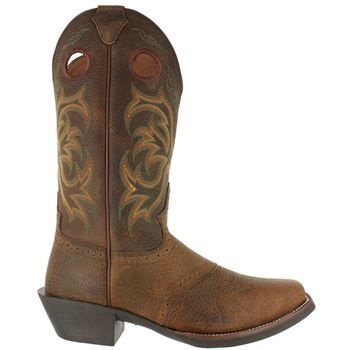 Justin Men's Dark Brown Rawhide W/ Perfed Saddle Vamp Boot