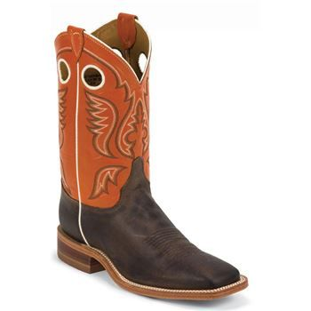 "Justin Men's Chocolate Burnished ""America"" Cow Bent Rail Boot"