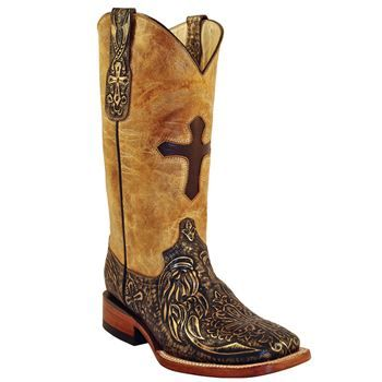 Ferrini Women's Embossed Cross Western Boots Tan/Gold