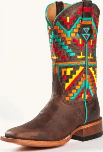 Johnny Ringo Women's Aztec Mad Dog Bone Square Toe Western Boots