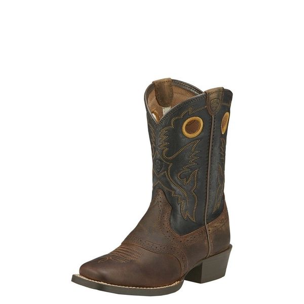 Ariat Youth Roughstock Square Toe Western Boot Brown Black