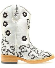 """Blazin Roxx Toddler and Youth """"Pecos"""" Glitter Butterfly Cowgirl Boots Silver"""