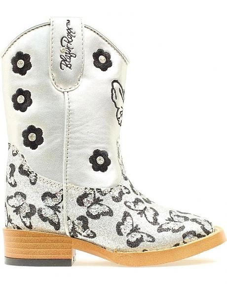 "Blazin Roxx Toddler and Youth ""Pecos"" Glitter Butterfly Cowgirl Boots Silver"