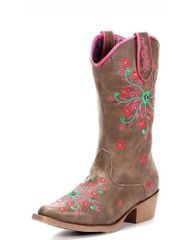 "Blazin Roxx Youth ""Savvy"" Embroidered Zipper Sniptoe Cowgirl Boots"