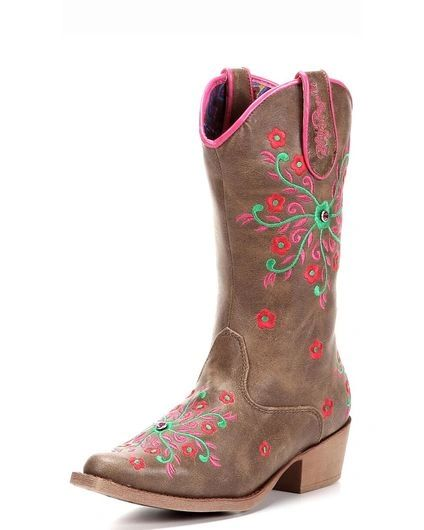 "Blazin Roxx Youth ""Savvy"" Embroidered Zipper Sniptoe Cowgirl Boots"