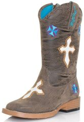 """Blazin Roxx Toddler and Youth """"Sierra"""" Embroidered Cross Square Toe Cowgirl Boots"""