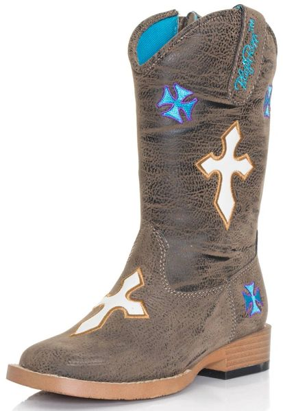 "Blazin Roxx Toddler and Youth ""Sierra"" Embroidered Cross Square Toe Cowgirl Boots"