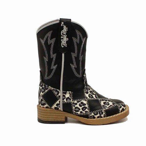 "Blazin Roxx Toddler and Child Zip ""Miley"" Patchwork Square Toe Cowgirl Boots"