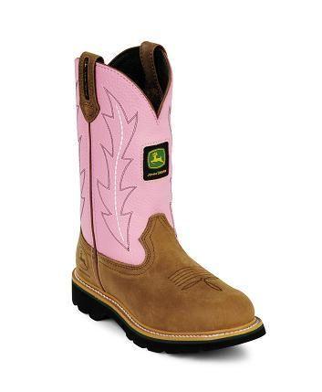 "John Deere Toddler ""Johnny Poppers"" Kids Cowboy Boot Brown/Pink"
