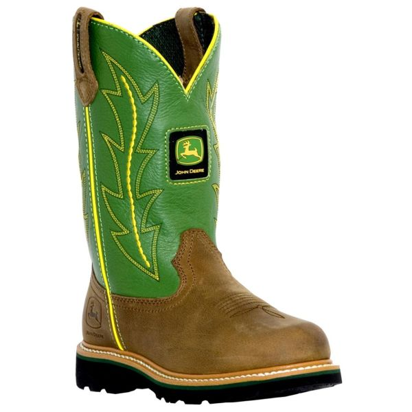 "John Deere Toddler ""Johnny Poppers"" Kids Cowboy Boot Tan/Green"