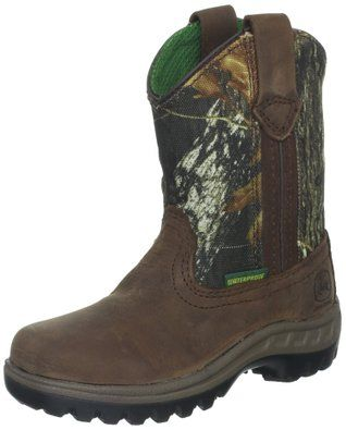 "John Deere Toddler ""Johnny Poppers"" Kids Waterproof Boot Coffee/Mossy Oak Camo"