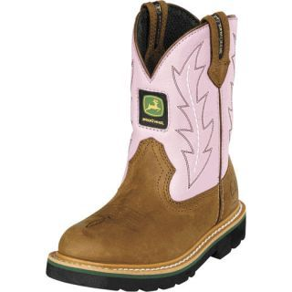 John Deere Youth Pull-On Cowboy Boots Brown/Pink