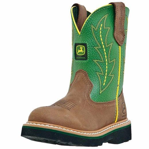 John Deere Youth Pull On Cowboy Boots Tan/Green