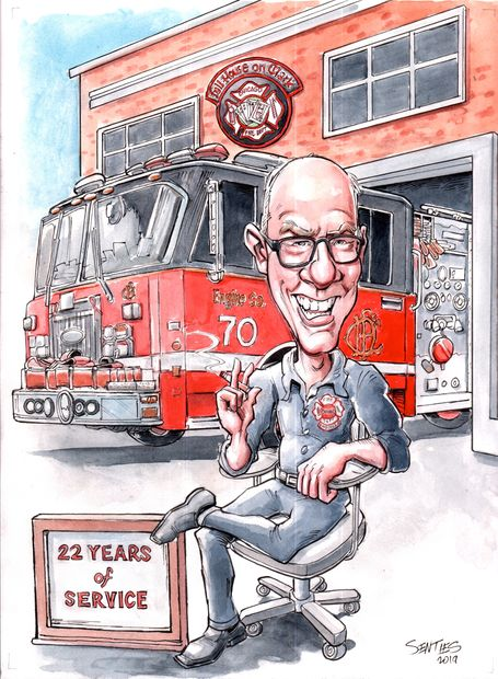 Gift Caricature for CFD fire chief's retirement party. Photos were provided along with a description