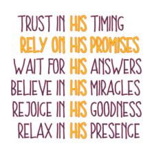 Trust in his timing
