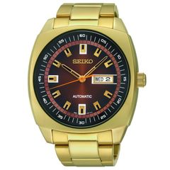 Seiko Men's Automatic Gold-Tone Stainless Steel Watch 44mm SNKM98