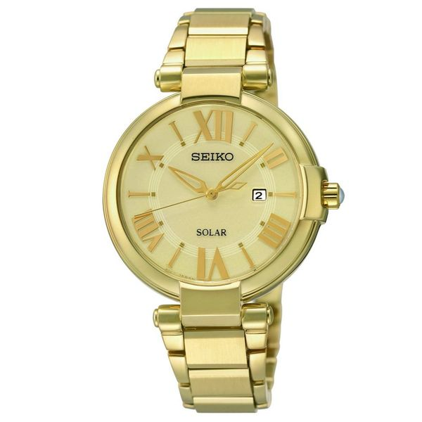 Seiko Women's Solar Gold-Tone Stainless Steel Bracelet Watch 33mm SUT176
