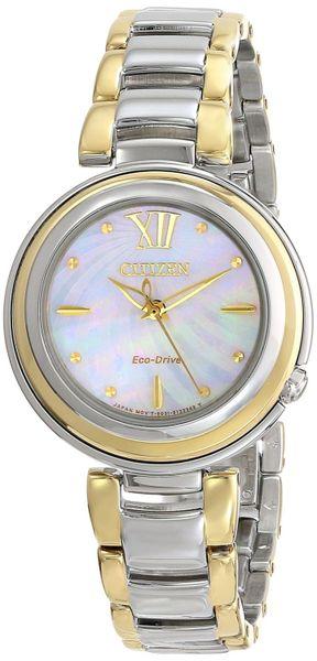 Citizen Eco-Drive Ladies Two-Tone L Sunrise Analog Watch Model EM0337-56D