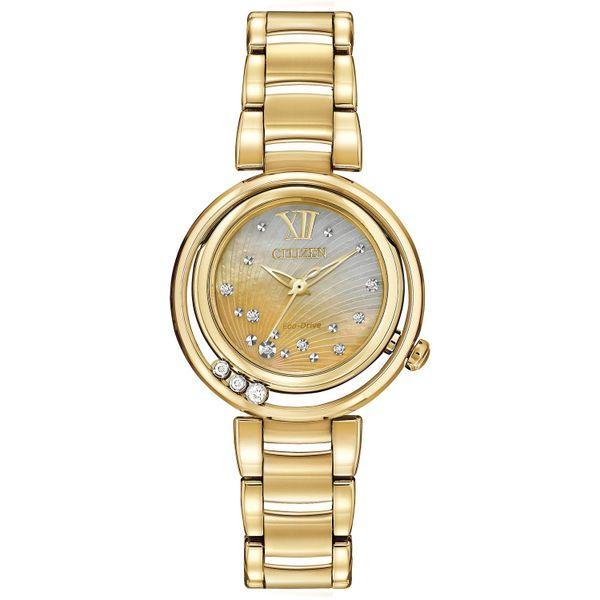 Citizen Eco-Drive Ladies Gold-Tone L Sunrise Diamond Analog Watch Model EM0322-53Y