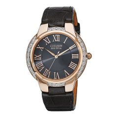 Citizen Eco-Drive Ladies Ciena Rose Gold Black Leather Watch Model EM0093-08H