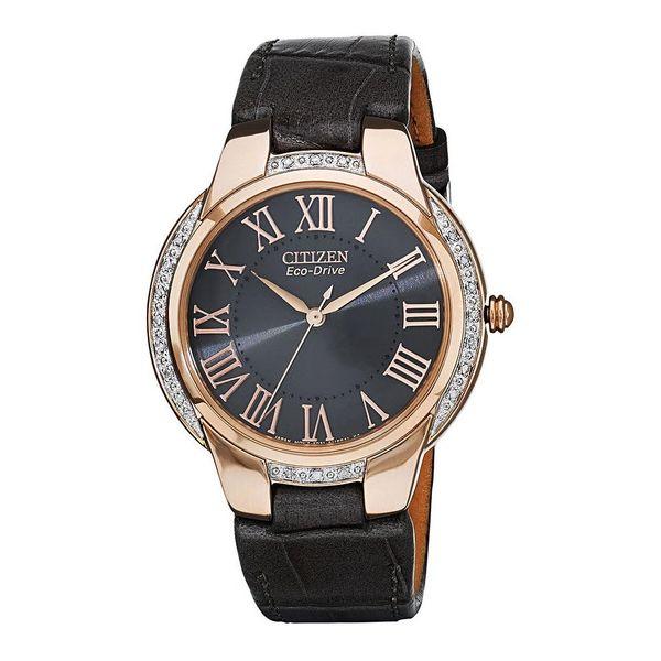 Citizen Eco-Drive Ladies Ciena Rose Gold Black Leather Watch Model EM0093-08H