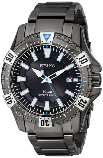 Seiko Solar Mens Grey Stainless Steel Quartz Watch SNE281