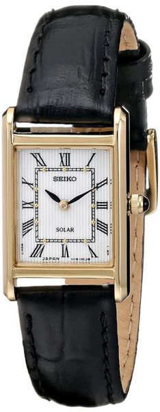 Seiko Women's Quartz Gold-Tone Black Leather Strap Watch SUP250