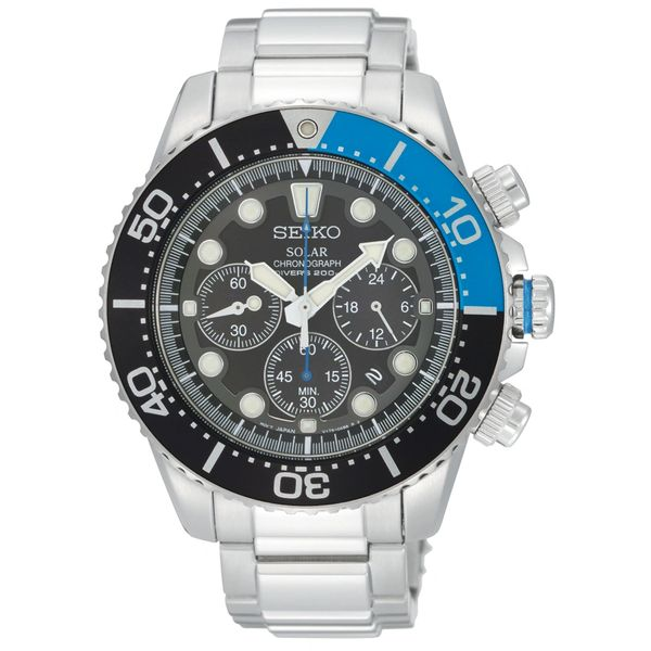 Seiko Solar Mens Dive Chronograph - Black Dial - Stainless - Lumibrite