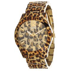 GUESS Women's U0001L2 Sporty Animal Magnetism Gold-Tone Watch