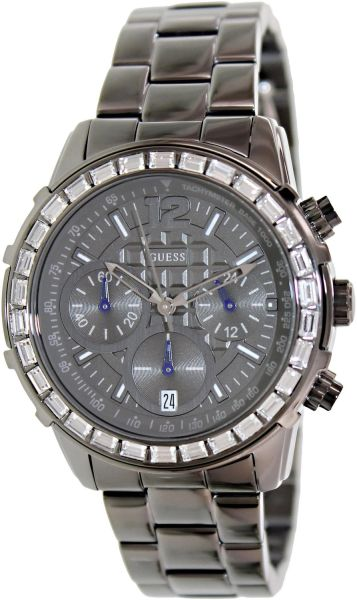 Guess U0016L3 chronograph gunmetal dial stainless steel bracelet women watch