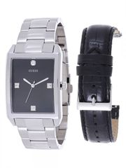 GUESS Men's U0282G1 Silver-Tone Interchangeable Strap Diamond Accented Dress Watch