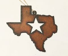 Rusty Texas Ornament with star cut out.