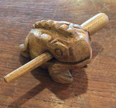 Small Tan Wooden Croaking Toad