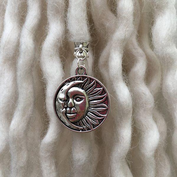 Tibetan Silver Cat on a Moon Dangle Dreadlock Bead