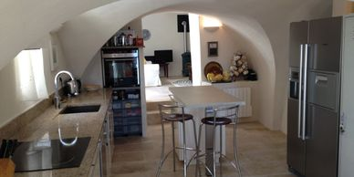 La Bergerie vaulted kitchen.