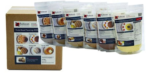 Assorted shaped puree bread flavoring mixes. IDDSI