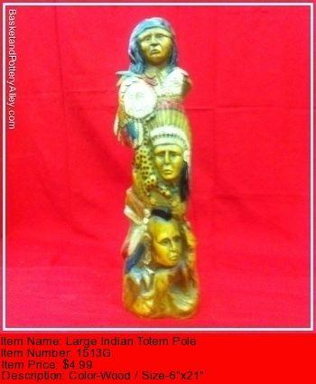 Large Indian Totem Pole - #1513G