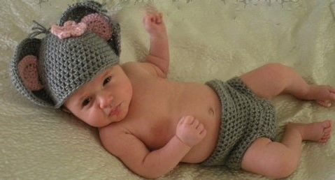 Crocheted handmade Mouse 2 piece set for baby