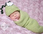 Crocheted Handmade 3 piece Cocoon/Bunting Baby Set