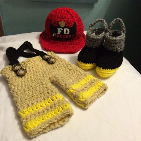 Crocheted Handmade Fireman 3 Piece Baby Sets